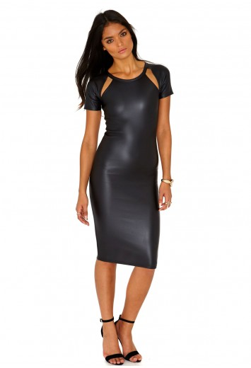 Clio Leather Cut Out Shoulders Midi Dress - Dresses - Missguided