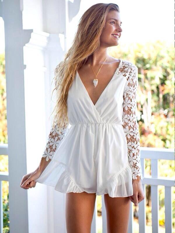romper white dress white dentelle