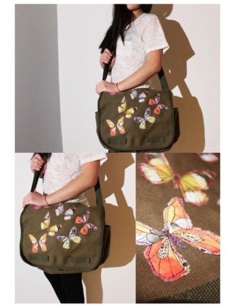 bag camouflage backpack butterfly butterfly rhinestones handmade overtheshoulder