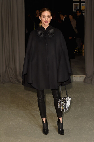 jacket poncho cape all black everything pants olivia palermo blogger london fashion week 2017 fashion week 2017
