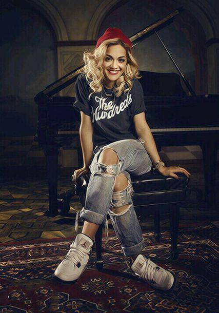 pants rita ora style cool boyfriend jeans swag streetstyle girl singer t-shirt shoes