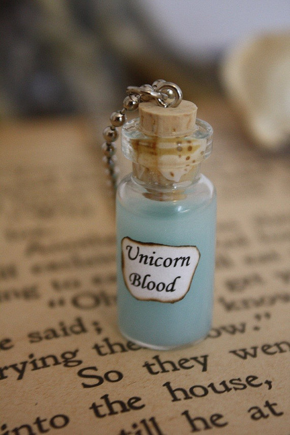 Unicorn Blood  Vial Necklace  Unicorn Necklace  by spacepearls