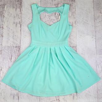 dress mint dress heart cut out valentine skater dress flirty