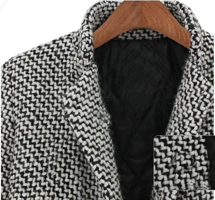 Black White Notch Stand Collar Long Sleeve Oversize Houndstooth Coat - Sheinside.com