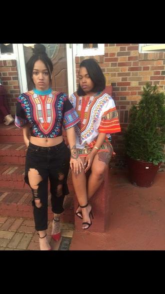 blouse african print top crop tops dress tribal pattern tribal shirt ripped jeans black jeans skirt shirt dashikitee dashikitshirtdress colorful jeans black denim dashiki