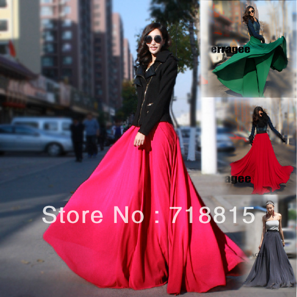 Free Shipping 2013 Women Fashion Loose Maxi Skirt Chiffon Long 8 Meters Plus Size Bust Skirt 10 Colors (S XXL) A22-in Skirts from Apparel & Accessories on Aliexpress.com