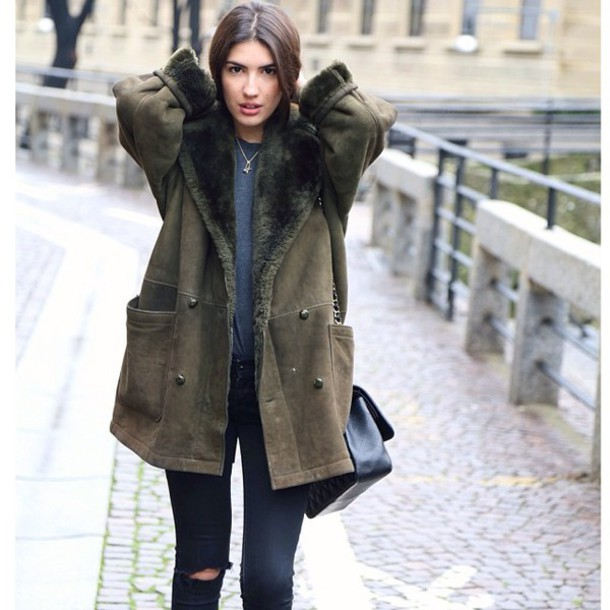 New coat, sheep, sheep jacket, sheep coat, shearling jacket, green  OW62
