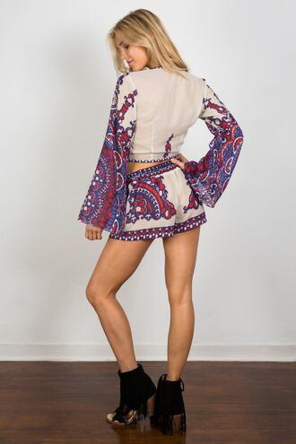 shorts red bottoms print purple soah bikiniluxe