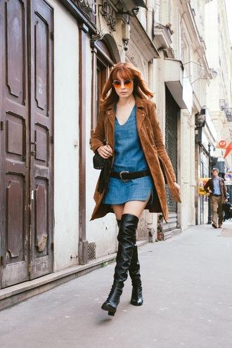 miss pandora blogger coat dress shoes bag top jewels make-up sweater skirt belt jacket tights scarf