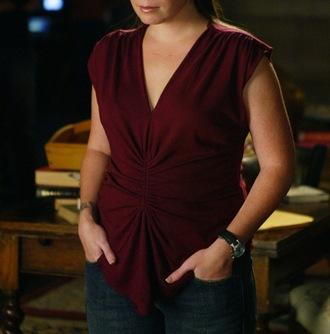 shirt crimson blouse v cut ruched cap sleeves