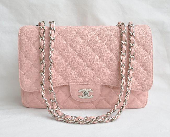 Replica Chanel Jumbo Flap bag 28601 pink caviar leather silver hardware On Sale