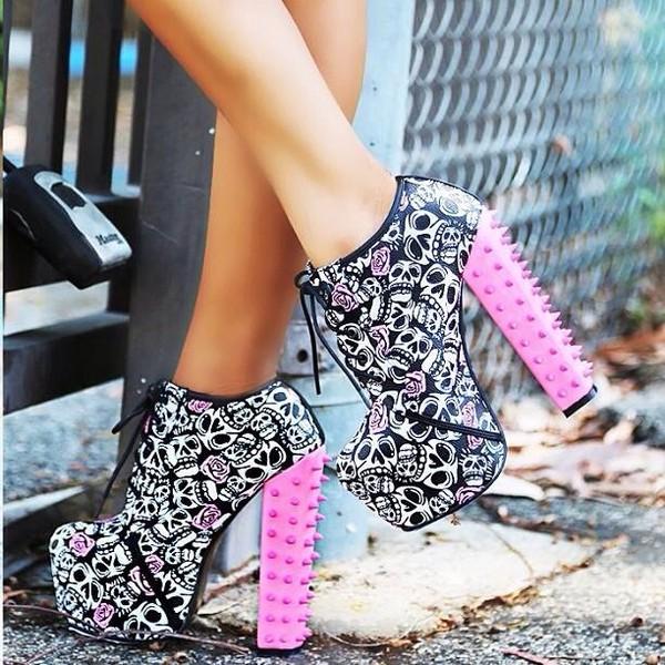 shoes pink skull studs pink high heels black white high heels roses bones lace