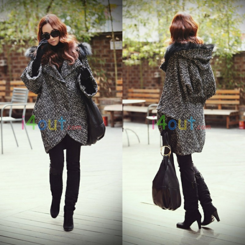WOMEN hooded Cardigan Cape Jacket