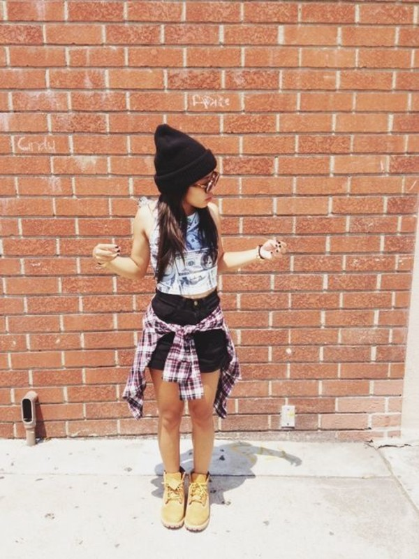 tank top money timberlands plaid shorts High waisted shorts black beanie tube top sunglasses shoes crop tops