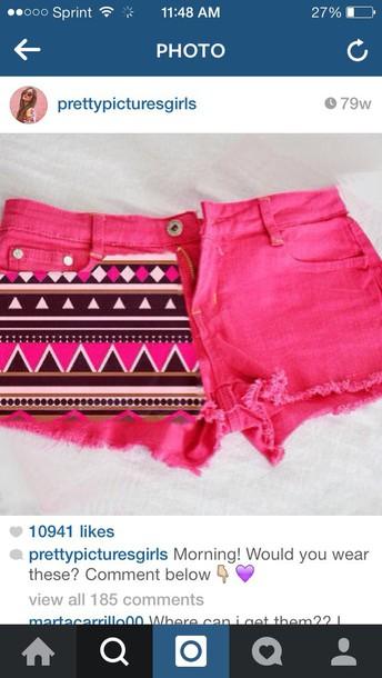 shorts tribal pink shorts
