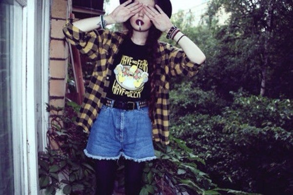 shirt yellow plaid shirt vintage flannel t-shirt the simpsons grunge goth hipster outfit indie rock