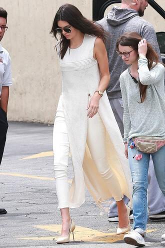 top dress pants pumps kendall jenner beige tunic shoes