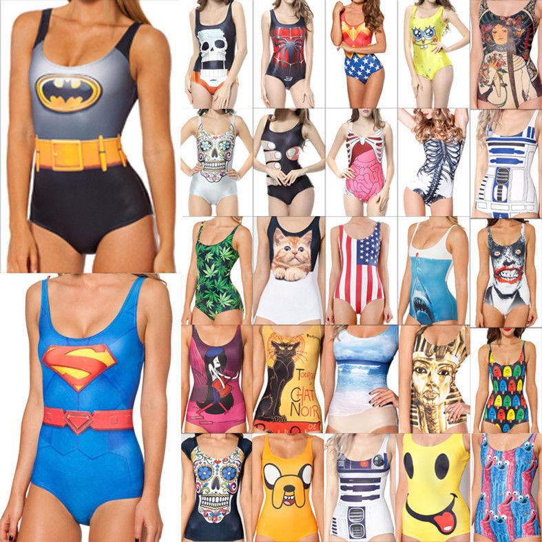 Sexy Women Swimwear Printed One Piece Costume Monokini Bikini Swimsuit Beachwear | eBay
