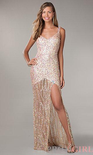 Prom Dresses, Celebrity Dresses, Sexy Evening Gowns - PromGirl: Floor Length V-Neck Sequin Dress