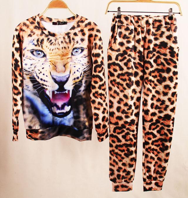 new 2013 Winter Plus size Winter Set Animal Leopard Tiger 3D Print Sport Hoodie Suit Sportswear Sweater Sweatshirt-in Hoodies & Sweatshirts from Apparel & Accessories on Aliexpress.com