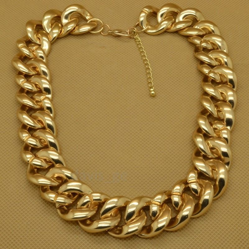 """Fashion Gold Tone Jewelry Big Plastic Chains Cool 18""""Necklace EXS 