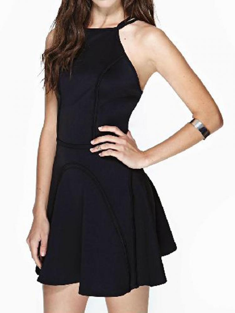 Black Skate Party Backless Dress   Choies