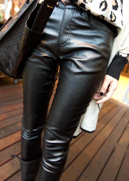 Faux-Leather Skinny Pants, Black , M - Ringnor | YESSTYLE