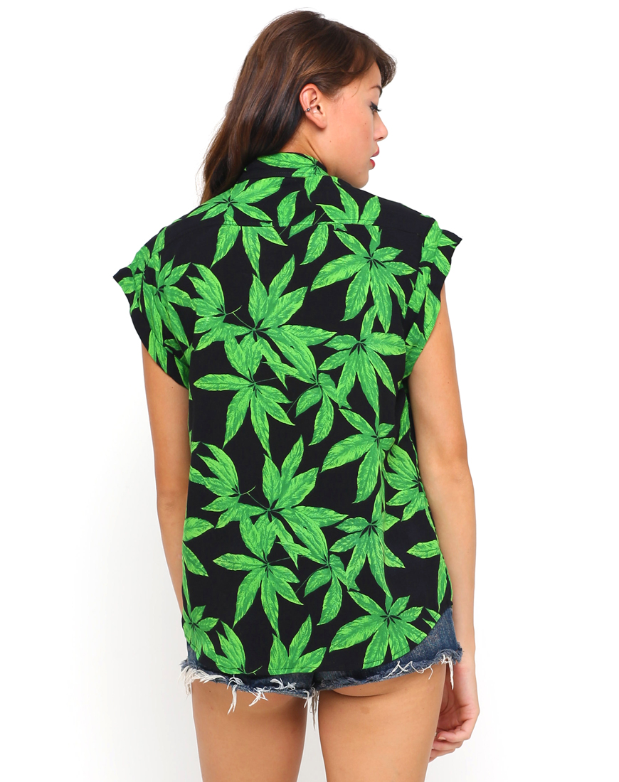 Buy Motel Addison Sleeveless Shirt in Palm Leaf Green at Motel Rocks