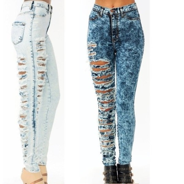 jeans ripped jeans acid wash cuts pretty cute high waisted white high waisted jeans