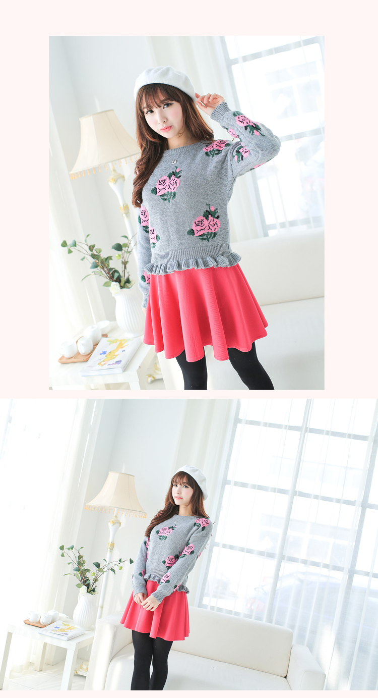 2014 spring women's rose crochet knitted thickening double layer short design pullover sweater an005-inPullovers from Apparel & Accessories on Aliexpress.com
