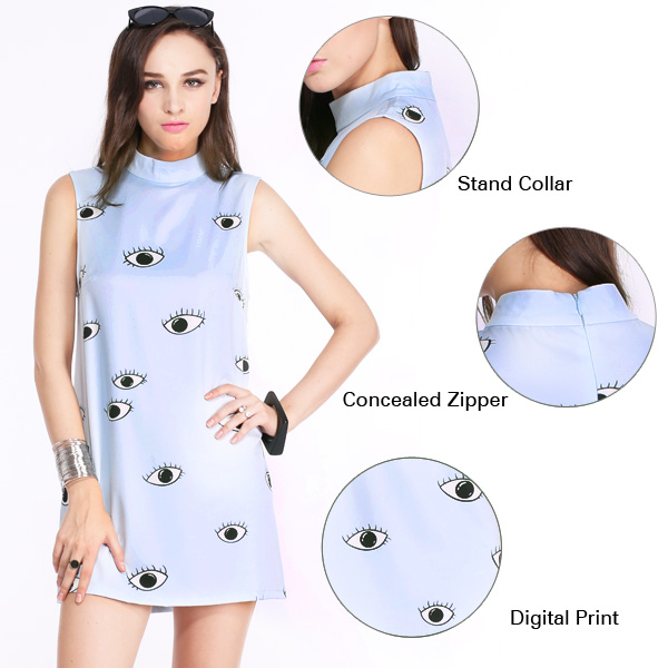 ROMWE | ROMWE Eyes Print Light-blue Shift Dress, The Latest Street Fashion