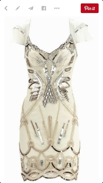 dress white beeds sequins formal dress rehearsal dress