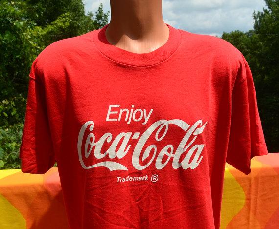 vintage 80s tshirt enjoy COKE classic cocacola tee by skippyhaha