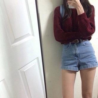 shorts denim grunge fashion style soft grunge sweater knitwear knit sweaters oversized oversized sweater topshop american apparel