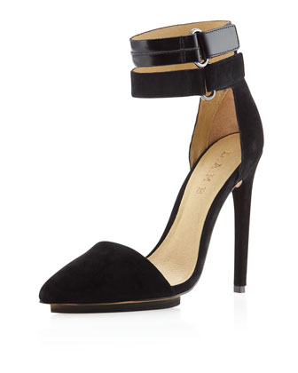 L.A.M.B. Oxley Pointed-Toe Pump, Black Suede  - Neiman Marcus Last Call