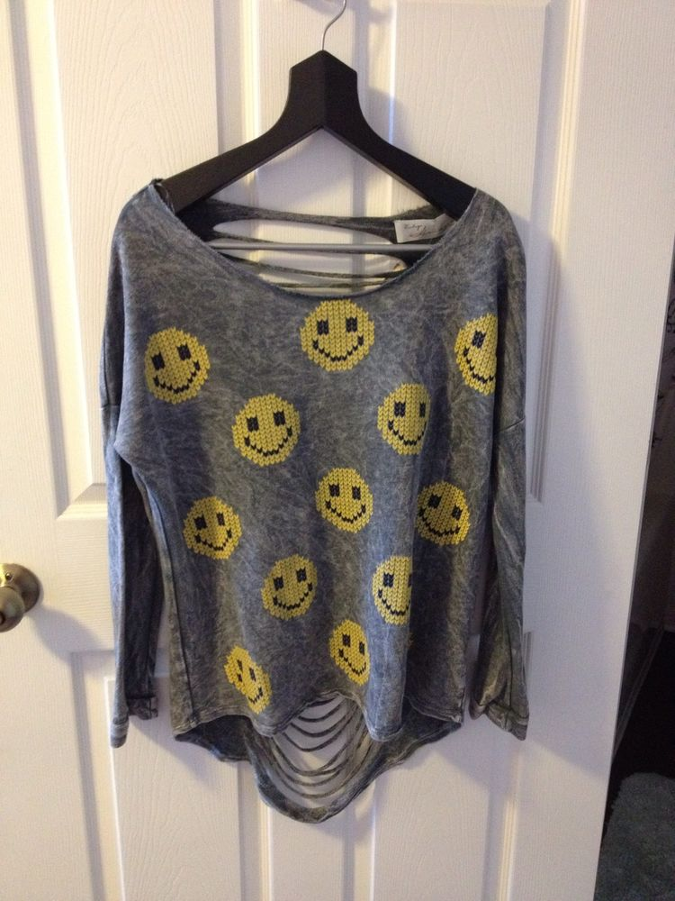 Vintage Havana Smile Face Grey and Yellow Long Sleeve Sweater Size L MSRP $62 | eBay