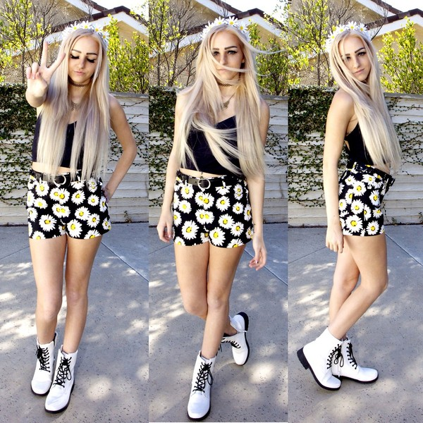 shorts grunge cute summer soft grunge girly combat boots tumblr tumblr girl daisy floral crop tops top shoes hair accessory flowers flower crown flower crown