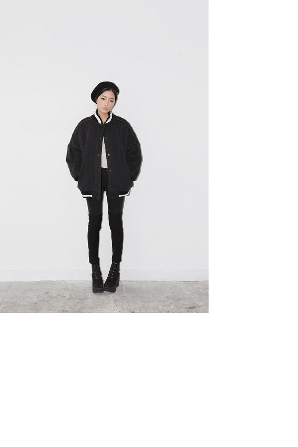 jacket stylenanda black cable knit textured baseball jacket