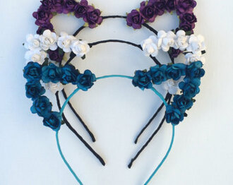 hair accessory cat ears floral headband sexy halloween accessory