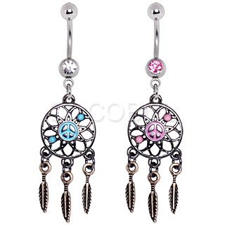 316L Surgical Steel Vintage Dream Catcher Belly Button Navel Ring