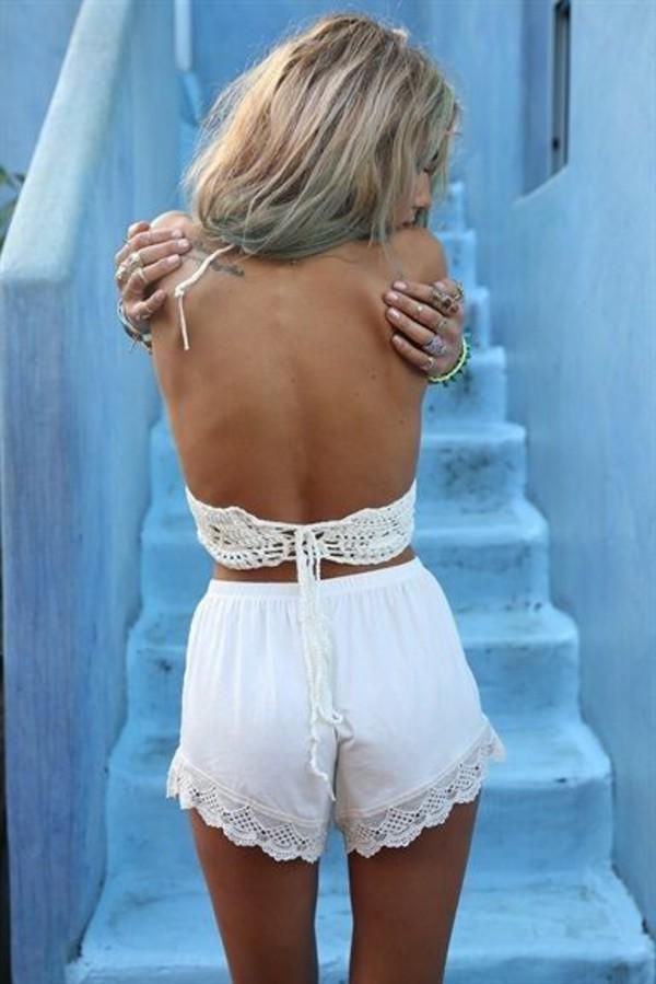 shorts white ivory lace crochet cute