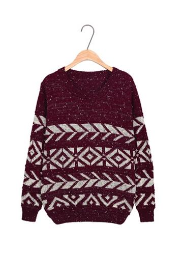 Arrow Geometric Pattern Sweater In Burgundy [FKBJ10335]- US$18.69 - PersunMall.com