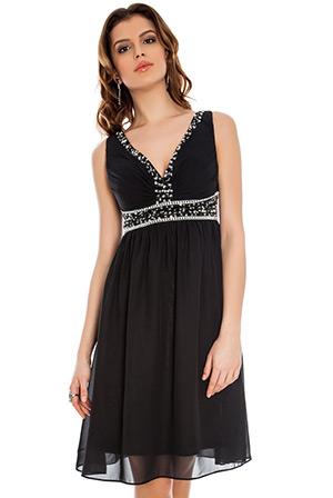 Cross Front Embellished Chiffon Prom Dress