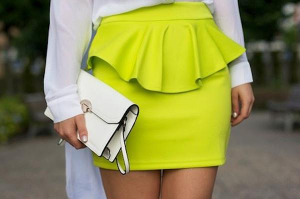 skirt neon peplum skirt
