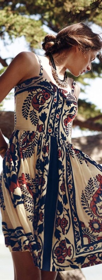 dress boho boho dress summer dress summer details embroidered embroidered dress style flowers paisley off-white pattern strapless strappy a-line