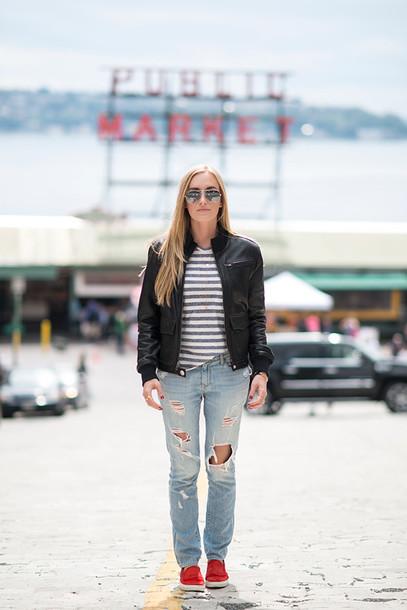 eat sleep wear blogger ripped jeans stripes black jacket vans top jeans shoes jacket