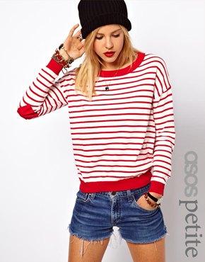 ASOS Petite | ASOS PETITE Heart Elbow Patch Sweater in Stripe at ASOS