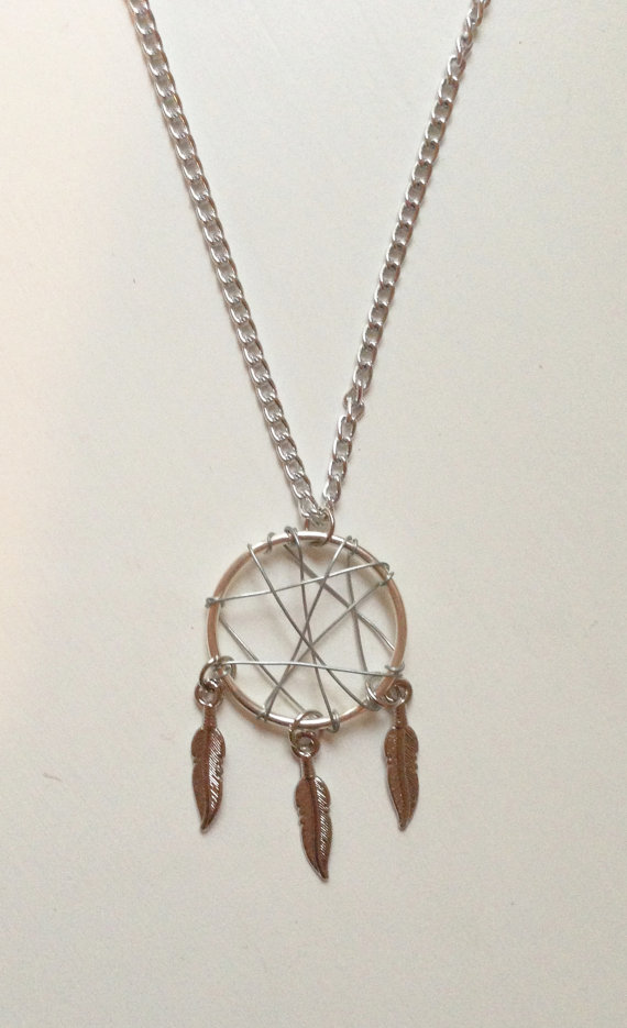 Silver Wire Dream Catcher Necklace with Feathers by CrystalandMint