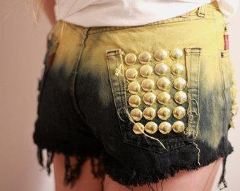 Dip Dye Ombre Denim Shorts Vintage Destroyed DIY Cut by SORUTHLESS