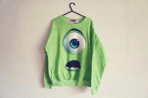 sweater green sweater monsters inc mike wazowski shirt style